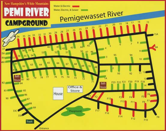 Pemi River Campground Site Map